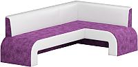 Уголок кухонный мягкий Mebelico Кармен 35 правый / 58833 (микровельвет, фиолетовый/белый) -