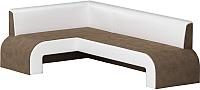 Уголок кухонный мягкий Mebelico Кармен 35 левый / 58832 (микровельвет, коричневый/белый) -