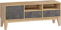 Тумба Woodcraft Гарленд 10002 (дуб гамильтон натуральный/бетон чикаго темно-серый) -