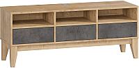 Тумба Woodcraft Гарленд 10003 (дуб гамильтон натуральный/бетон чикаго темно-серый) -