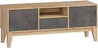 Тумба Woodcraft Гарленд 10005 (дуб гамильтон натуральный/бетон чикаго темно-серый) -