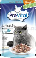 Корм для кошек Prevital Naturel с тунцом в желе (85г) -