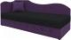 Тахта Mebelico 74 левый (микровельвет, черный/фиолетовый) -
