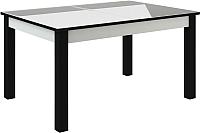 Обеденный стол Васанти Плюс ВС-51 110/150x70 (белый глянец/черный) -