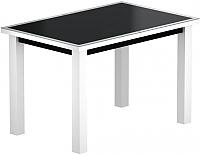 Обеденный стол Васанти Плюс ВС-44 110/150x70М (черный матовый/белый) -