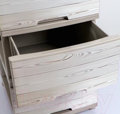 Комод пластиковый Алеана Дерево темное 123093 (кремовый)