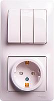 Блок выключатель+розетка Schneider Electric Glossa GSL000178 -