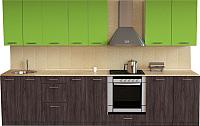 Готовая кухня Хоум Лайн Луиза Люкс 3.0 (флитвуд серая лава/зеленый лайм) -