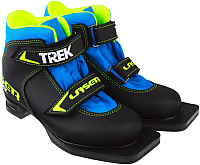 Ботинки для беговых лыж TREK Laser 1 (черный/лайм, р-р 30) -