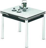 Обеденный стол Импэкс Leset Париж 1Р (металл хром/стекло белое) -