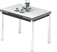 Обеденный стол Импэкс Leset Париж 2Р (металл хром/стекло белое) -