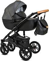 Детская универсальная коляска Alis Camaro 2 в 1 (Cm 02, черный узор/черная кожа) -