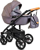 Детская универсальная коляска Alis Camaro 2 в 1 (cm03, фиолетовый узор/фиолетовая кожа) -