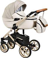 Детская универсальная коляска Alis Camaro 2 в 1 (Cm 01, бежевый узор/светло-бежевая кожа) -