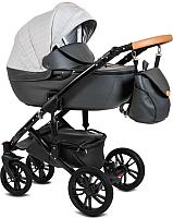 Детская универсальная коляска Alis Camaro 2 в 1 (Cm 05, светло-серый узор/темно-серая кожа) -