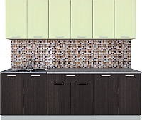 Готовая кухня Интерлиния Мила Лайт 2.4 (салатовый/дуб венге) -