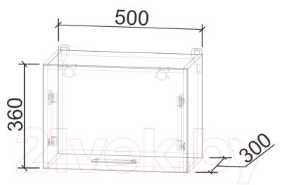 Шкаф под вытяжку Интерлиния Мила Лайт ВШГ50-360 (дуб белый)
