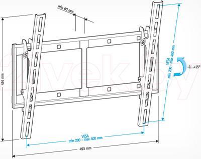 Кронштейн для телевизора Holder LCD-T4609-B - габаритные размеры