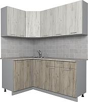 Готовая кухня Интерлиния Мила Лайт 1.2x1.8 (дуб белый/дуб серый) -
