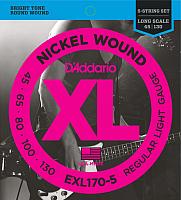 Струны для бас-гитары D'Addario EXL170-5 45-130 -