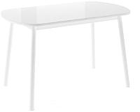Обеденный стол Импэкс Leset Мидел (металл белый/стекло белое) -