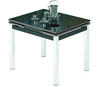 Обеденный стол Импэкс Leset Париж 1Р (металл хром/стекло черное) -