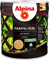 Защитно-декоративный состав Alpina Лазурь-гель (2.5л, тик) -