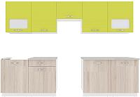 Готовая кухня ВерсоМебель Эко-6 3.0 (ясень шимо светлый/зеленый лайм) -