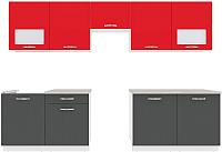 Готовая кухня ВерсоМебель Эко-6 3.0 (антрацит/красный чили) -