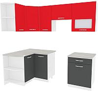 Готовая кухня ВерсоМебель Эко-6 1.2x2.2 левая (антрацит/красный чили) -