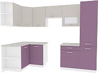 Готовая кухня ВерсоМебель Эко-6 1.3x2.8 левая (виола/кашемир) -