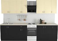 Готовая кухня Хоум Лайн Кристалл Лайт 2.5 (черный глянец/ваниль глянец) -