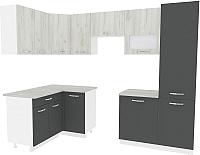 Готовая кухня ВерсоМебель Эко-6 1.4x2.7 левая (дуб крафт белый/антрацит) -