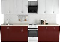Готовая кухня Хоум Лайн Кристалл Лайт 2.5 (бургунский глянец/белый глянец) -