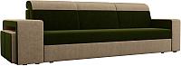Комплект мягкой мебели Лига Диванов Мустанг с двумя пуфами / 61223 (вельвет зеленый/бежевый) -