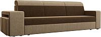 Комплект мягкой мебели Лига Диванов Мустанг с двумя пуфами / 61224 (вельвет коричневый/бежевый) -