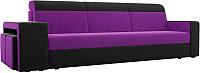 Комплект мягкой мебели Лига Диванов Мустанг с двумя пуфами / 61225 (вельвет фиолетовый/черный) -