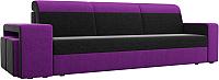 Комплект мягкой мебели Лига Диванов Мустанг с двумя пуфами / 61226 (вельвет черный/фиолетовый) -