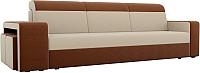 Комплект мягкой мебели Лига Диванов Мустанг с двумя пуфами / 61227 (рогожка бежевый/коричневый) -