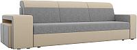 Комплект мягкой мебели Лига Диванов Мустанг с двумя пуфами / 61231 (рогожка серый/бежевый) -