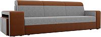 Комплект мягкой мебели Лига Диванов Мустанг с двумя пуфами / 61232 (рогожка серый/коричневый) -