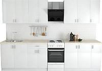 Готовая кухня Хоум Лайн Кристалл Лайт 2.5 (белый глянец) -