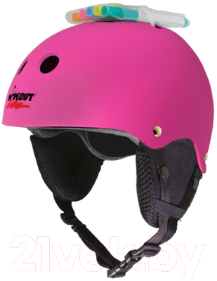 Шлем горнолыжный Wipeout Neon Pink 8+ зимний с фломастерами (розовый)