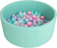 Игровой сухой бассейн Romana Airpool ДМФ-МК-02.53.01 (бирюзовый, 150 шариков ассорти с розовым) -