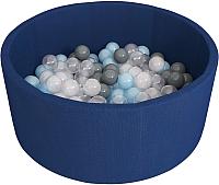 Игровой сухой бассейн Romana Airpool ДМФ-МК-02.53.01 (темно-синий, 150 шариков ассорти с серым) -