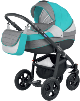 Детская универсальная коляска Adamex Avanti 2 в 1 (21-C/бирюзовый/серый/графит) -