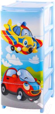 Комод пластиковый Эльфпласт Самолет 16 (голубой)