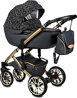 Детская универсальная коляска Alis Camaro 2 в 1 (Cm 10, темно-серый c золотым узором/темно-серая кожа/рама золото) -