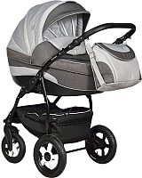 Детская универсальная коляска INDIGO 18 2 в 1 (40, светло-серый/темно-серый/серый узор) -