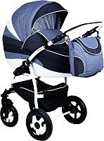 Детская универсальная коляска INDIGO 18 2 в 1 (46, светло-джинс/темно-синий джинс/белый) -